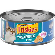Friskies Tasty Treasures Pate Ocean Fish Dinner with Cheese Canned Cat Food, 5.5-oz, case of 24
