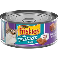 Friskies Tasty Treasures Pate Turkey & Chicken Dinner with Cheese Canned Cat Food, 5.5-oz, case of 24