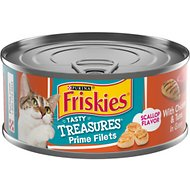Friskies Tasty Treasures with Chicken, Tuna & Cheese in Gravy Canned Cat Food, 5.5-oz, case of 24