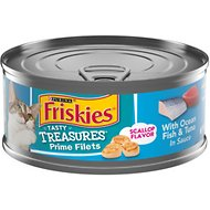 Friskies Tasty Treasures with Ocean Fish, Tuna & Cheese in Sauce Canned Cat Food, 5.5-oz, case of 24