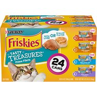 Friskies Tasty Treasures Gravy Prime Filets Variety Pack Wet Cat Food, 5.5-oz can, case of 24