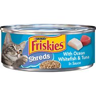 Friskies Savory Shreds with Ocean Whitefish & Tuna in Sauce Canned Cat Food, 5.5-oz, case of 24