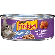 Friskies Savory Shreds with Turkey & Giblets in Gravy Canned Cat Food, 5.5-oz, case of 24