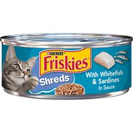 Friskies Savory Shreds with Whitefish & Sardines in Sauce Canned Cat Food, 5.5-oz, case of 24