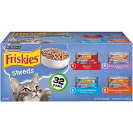 Friskies Shreds Variety Pack Canned Cat Food, 5.5-oz, case of 32