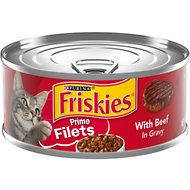 Friskies Prime Filets with Beef in Gravy Canned Cat Food, 5.5-oz, case of 24