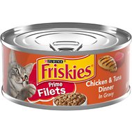 Friskies Prime Filets Chicken & Tuna Dinner in Gravy Canned Cat Food, 5.5-oz, case of 24