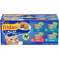 Friskies Classic Pate Seafood Variety Pack Canned Cat Food, 5.5-oz, case of 32