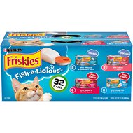 Friskies Fish-A-Licious Variety Pack Canned Cat Food, 5.5-oz, case of 32