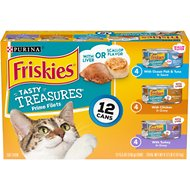 Friskies Tasty Treasures with Cheese Variety Pack Canned Cat Food, 5.5-oz, case of 12