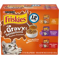 Friskies Gravy Sensations Poultry Favorites Cat Food Pouches, 3-oz pouch, case of 12