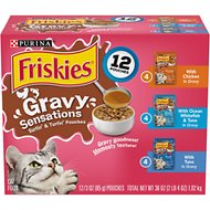 Friskies Gravy Sensations Surfin' & Turfin' Favorites Cat Food Pouches, 3-oz pouch, case of 12