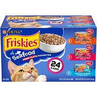 Friskies Prime Filets Seafood Favorites Variety Pack Canned Cat Food, 5.5-oz, case of 24