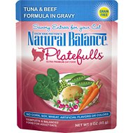 Natural Balance Platefulls Tuna & Beef Formula in Gravy Grain-Free Cat Food Pouches, 3-oz pouch, case of 24