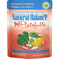 Natural Balance Platefulls Chicken & Pumpkin Formula in Gravy Grain-Free Cat Food Pouches, 3-oz pouch, case of 24