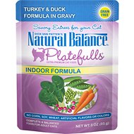 Natural Balance Platefulls Indoor Formula Turkey & Duck Formula in Gravy Grain-Free Cat Food Pouches, 3-oz pouch, case of 24