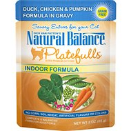 Natural Balance Platefulls Indoor Formula Duck, Chicken & Pumpkin Formula in Gravy Grain-Free Cat Food Pouches, 3-oz pouch, case of 24