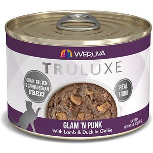 """Weruva Truluxe Glam \\\'N Punk with Lamb & Duck in Gelee Grain-Free Canned Cat Food, 6-oz, case of 24; Fuel your little carnivore's adventures with the Weruva Truluxe Glam \\\'N Punk with Lamb & Duck in Gelee Grain-Free Canned Cat Food. Made with lean lamb, tuna and duck breast as the first ingredients, every bite is loaded with the meat your pal craves, and all the protein he needs for healthy muscles. Since it's formulated with a perfectly-balanced blend of vitamins, minerals and heart-healthy taurine, every easy-open can is actually a complete meal—on its own or as a tasty kibble topper.  Your kitty will love the meaty morsels and luscious gelee that also provides plenty of hydration so he can stay healthy, from nose to tail. It's no wonder that for cats everywhere, Weruva is also known as """"the best cat food under the sun!"""""""
