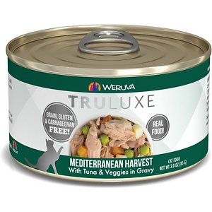 """Weruva Truluxe Mediterranean Harvest with Tuna & Veggies in Gravy Grain-Free Canned Cat Food, 3-oz, case of 24; Fuel your little carnivore's adventures with the Weruva Truluxe Mediterranean Harvest with Tuna & Veggies in Gravy Grain-Free Canned Cat Food. Made with lean, wild-caught skipjack tuna as the top ingredient, every juicy bite is loaded with the meat your pal craves, and all the protein he needs for healthy muscles. Since it's formulated with a perfectly-balanced blend of vitamins, minerals and heart-healthy taurine, every easy-open can is actually a complete meal—on its own or as a tasty kibble topper.  Your kitty will love the meaty morsels and luscious gravy that also provides plenty of hydration so he can stay healthy, from nose to tail. It's no wonder that for cats everywhere, Weruva is also known as """"the best cat food under the sun!"""""""