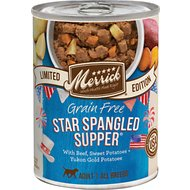 Merrick Seasonal Grain-Free Star Spangled Supper Recipe Canned Dog Food, 12.7-oz, case of 12