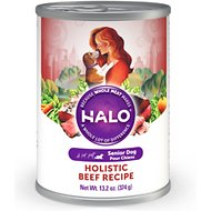 Halo Holistic Beef Recipe Senior Canned Dog Food, 13.2-oz, case of 12