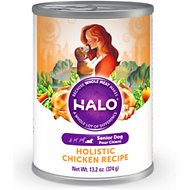 Halo Holistic Chicken Recipe Senior Canned Dog Food, 13.2-oz, case of 12