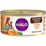 Halo Chicken & Trout Recipe Gluten-Free Indoor Cat Canned Cat Food, 5.5-oz, case of 12