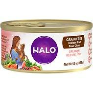 Halo Salmon Recipe Grain-Free Indoor Cat Canned Cat Food, 5.5-oz, case of 12
