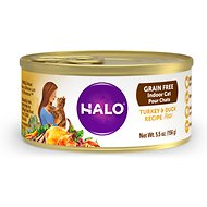 Halo Turkey & Duck Recipe Grain-Free Indoor Cat Canned Cat Food, 5.5-oz, case of 12