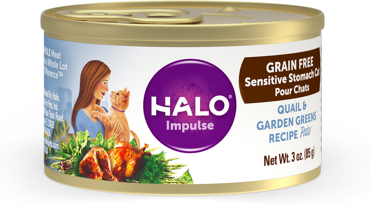 Halo Quail U0026 Garden Greens Recipe Grain Free Sensitive Stomach Canned Cat  Food, 5.5 Oz, Case Of 12
