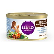Halo Quail & Garden Greens Recipe Grain-Free Sensitive Stomach Canned Cat Food, 5.5-oz, case of 12