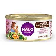 Halo Rabbit & Garden Greens Recipe Grain-Free Sensitive Stomach Canned Cat Food, 5.5-oz, case of 12
