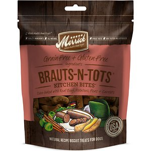 Merrick Kitchen Bites Brauts-n-Tots Grain-Free Biscuits Dog Treats, 9-oz bag; Merrick Kitchen Bites are all-natural, oven-baked biscuits based on Merrick's innovative and award-winning classic can recipes. Kitchen Bites start with real deboned meat as the #1 ingredient for a single source of high quality protein, then fresh fruits and vegetables, for a crunchy and healthy treat for dogs. Unlike many biscuits that include rice, flour or wheat, Kitchen Bites are grain-free and gluten-free. These Brauts-n-Tots biscuits are oven-baked with real beef, potatoes, peas and carrots.