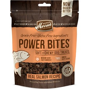 Merrick Power Bites Real Salmon Recipe Grain-Free Soft & Chewy Dog Treats, 6-oz bag; Merrick Power Bites are all-natural, soft and chewy treats with big taste and industry-leading levels of protein packed into every bite. They start with real deboned meat as the #1 ingredient, with added nutrition from fresh fruits and vegetables. Perfect for rewarding or training, your dog is sure to love Power Bites!