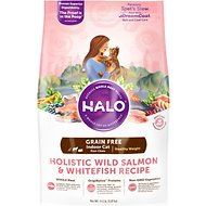 Halo Holistic Wild Salmon & Whitefish Recipe Grain-Free Healthy Weight Indoor Cat Dry Cat Food, 11.5-lb bag