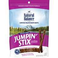 Natural Balance Limited Ingredient Diets Jumpin' Stix Venison & Sweet Potato Formula Dog Treats, 4-oz bag