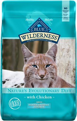 8. Blue Buffalo Wilderness Chicken Recipe Indoor Hairball Control Grain-Free Dry Cat Food