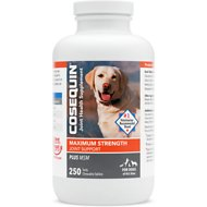 Nutramax Cosequin Maximum Strength (DS) Plus MSM Chewable Tablets Joint Health Supplement for Dogs, 250 count