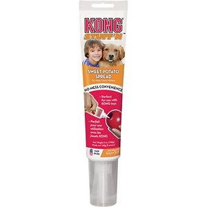 KONG Stuff\\\'N Sweet Potato Spread Dog Treat, 5-oz tube; A little squeeze is all you need for instant, mess-free and rewarding fun with your dog thanks to the KONG Stuff\\\'N Sweet Potato Spread Dog Treat. Give your best friend the high-quality, wholesome ingredients he loves like real sweet potatoes, in a lip-smacking mousse-like treat that'll keep him coming back for more. Its convenient easy-squeeze tube and extra-long nozzle makes it easy to squeeze a desired amount straight into your dog's favorite KONG classic shaped toy—or simply dab straight from the nozzle to your pal's mouth, no spoon needed! Perfect as a delicious anytime snack or to make training sessions more rewarding.