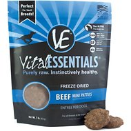 Vital Essentials Beef Entree Mini Pet Patties Grain-Free Freeze-Dried Dog Food, 1-lb bag