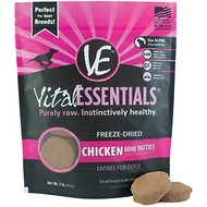 Vital Essentials Chicken Entree Mini Pet Patties Grain-Free Freeze-Dried Dog Food, 1-lb bag