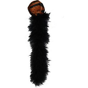 KONG Wild Tails Cat Toy, Color Varies; Your cat will find it hard to resist the movement of KONG Wild Tails skittering across the floor or flying through the air. The extra-long, light feathery tails will dance and tease your cat as they attempt to pounce on the ball. A rattle sound adds extra excitement to stimulate play. Watch the natural hunting instinct take over as your favorite feline discovers their new prey.