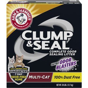 Arm & Hammer Litter Clump & Seal Multi-Cat Scented Clumping Clay Cat Litter, 28-lb box