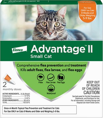 Advantage II Flea Treatment for Small Cats 5 lbs to 9 lbs & Ferrets, 1  treatment