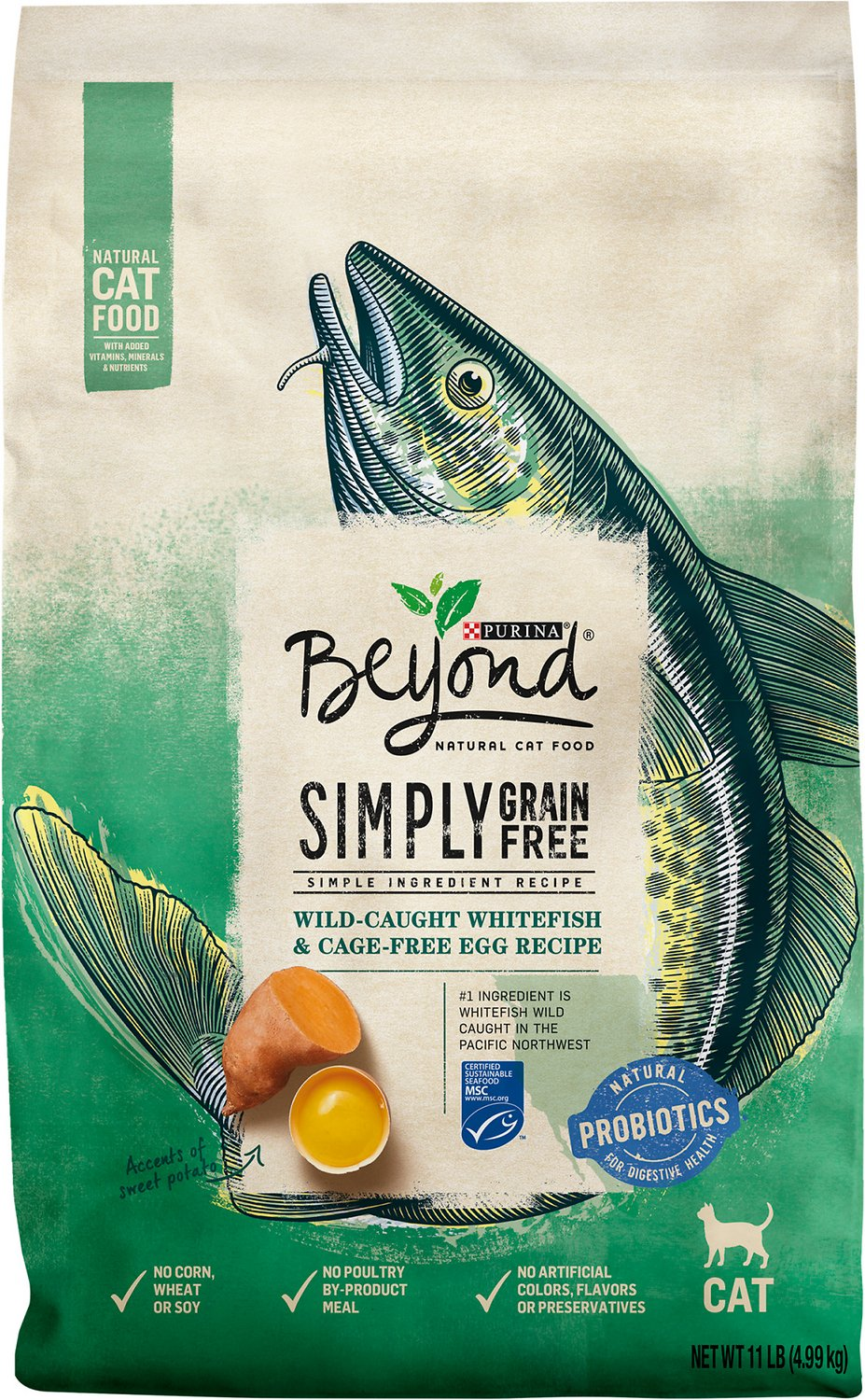 Purina Beyond Natural Dry Cat Food, Grain Free, Ocean Whitefish and Egg Recipe, 11-Pound bag, Pack of 1