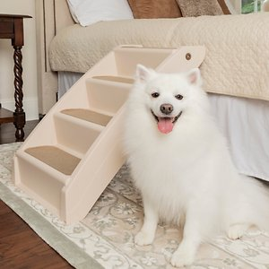 PetSafe CozyUp Folding Dog & Cat Stairs, X-Large; Help your best buddy go where the snuggles are with the PetSafe CozyUp Folding Pet Steps, Plastic. These folding steps help your furry friend get on and off furniture with greater ease—perfect for smaller pals or older pals with sensitive joints. These steps weigh only five pounds so they are lightweight and easy to move around the house. They feature fabric covers, side rails and non-skid feet to help prevent slipping and wobbling. They are also super-durable and able to support companions up to 150 pounds.  And when your pal isn't using them they can be easily folded and stored. It's just what your best bud needs to enjoy her favorite cuddle spot!