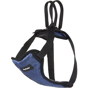 PetSafe Happy Ride Car Safety Dog Harness, Small: 9 to 21-in chest; If your pup thinks it's time to paw-ty in the car, you can keep him safely in one place with PetSafe Happy Ride Dog Safety Harness. This fully padded vest has multiple attachment points so you can choose the most comfortable way for your pup to be contained. Getting him settled for the ride is a cinch—simply attach it to your car's seat with a tether. Paw-viding limited mobility, he stays where he's supposed to, allowing you to focus on the road. It's even crash-tested so you can feel confident about how you're keeping your baby safe.