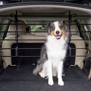 PetSafe Deluxe Happy Ride Dog Barrier; Keep paw-sistent pups safely in the backseat with PetSafe Deluxe Tubular Car Pet Barrier. The metal barrier makes him stay in his spot—even if he'd rather be sitting on your lap—so you can keep your focus on the road. He'll still be able to keep an eye on his favorite person, and you can have a clear view of the happenings in the back. PetSafe knows your pooch isn't always your paws-enger, so it quickly assembles and disassembles to help you get on the road faster.
