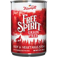 Triumph Free Spirit Grain-Free Beef & Vegetable Stew Canned Dog Food, 13.2-oz, case of 12
