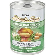 Evolve Nature's Menu Holiday Harvest with Turkey, Duck & Cranberries in Gravy Canned Dog Food, 13.2-oz, case of 12
